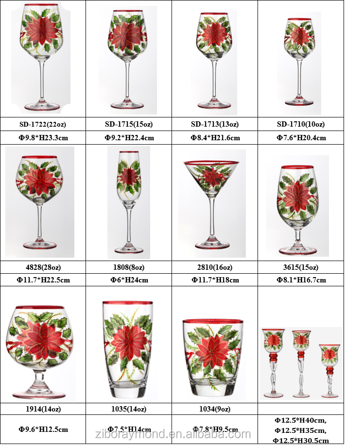 Wholesale Hand Painted Drinking Fruit Wine Beer Glass