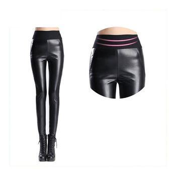 7e8a47d5e9196 Girls Sexy Shiny Skinny PU Faux Leather Tights Leggings Elastic Stretch  Long Full Pants