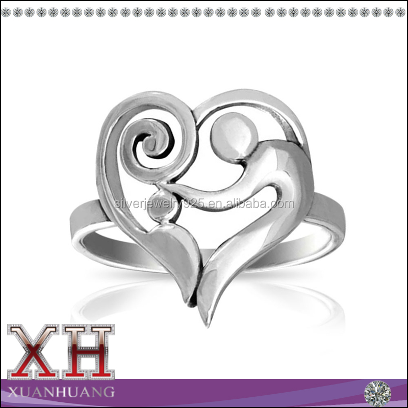 Sterling Silver Swirl Mother and Child Heart Ring
