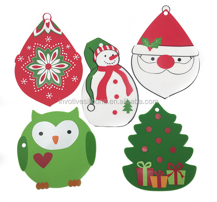 Fancy Christmas silicone trivet table mat with custom printing-2