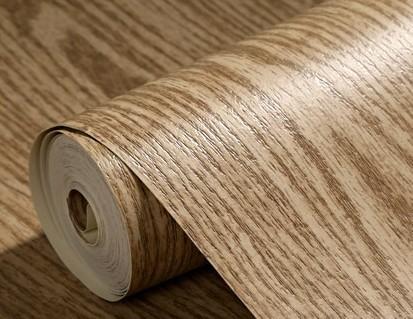 Embossed Modern Vinyl Wood Oak Pattern Wallpaper Roll Tv