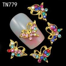 10pcs Glitter Butterfly Rhinestones 3d Nail Art Decorations, Alloy Nail Sticker Charms Jewelry for Nail Gel/Polish Tools TN779