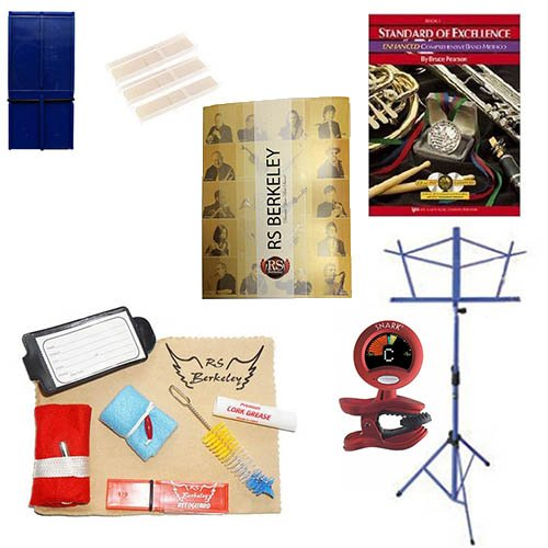 Alto Saxophone Players Mega Pack - Essential Accessory Pack for the Saxophone: Includes: Saxophone Care & Cleaning Kit, Saxophone Reed Pack w/Reed Holder, Music Stand, Band Folder, Standard of Excellence Book 1 for Sax, & Tuner & Metronome