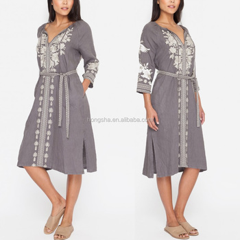 Latin American Inspired Boho Slip On Peasant Embroidered Linen Dresses Plus  Size Women Clothing Hsd5974 - Buy Embroidery Dress,Plus Size Women ...