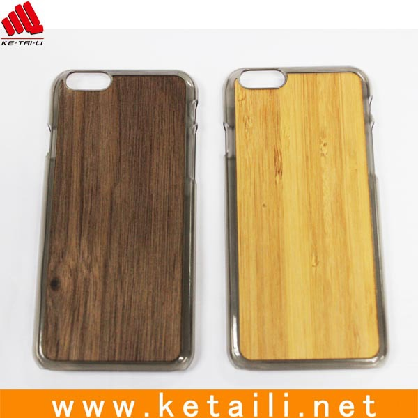 For wood iphone 6 case plastic basic case with wood sheet on backside
