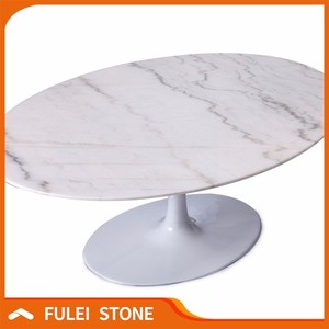 Polished Round Guangxi White Marble Slab Table Top