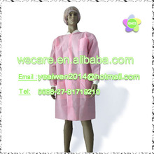 "white green pink Women disposable Lab Coat 36"" inch Long with Kick Pleat,made of non woven fabric"