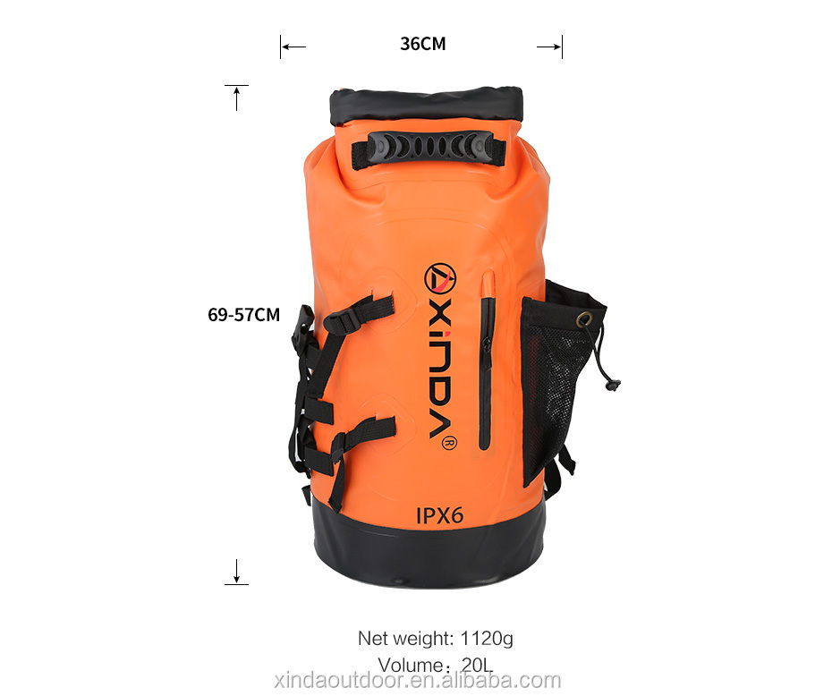 Xinda camping gear 20L orange  pvc waterproof backpack for caving canyoning boating camping swimming