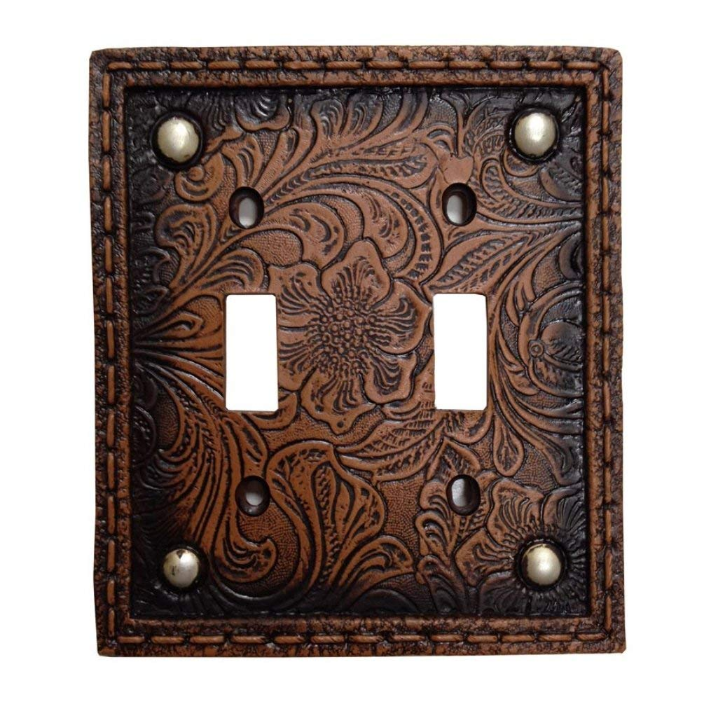 Tooled Leather Floral Design with Rivets Resin Double Switch Cover Plate