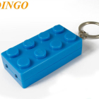 Newest designed LEGO brick Custom LOGO printed LED flash light keychain ABS plastic
