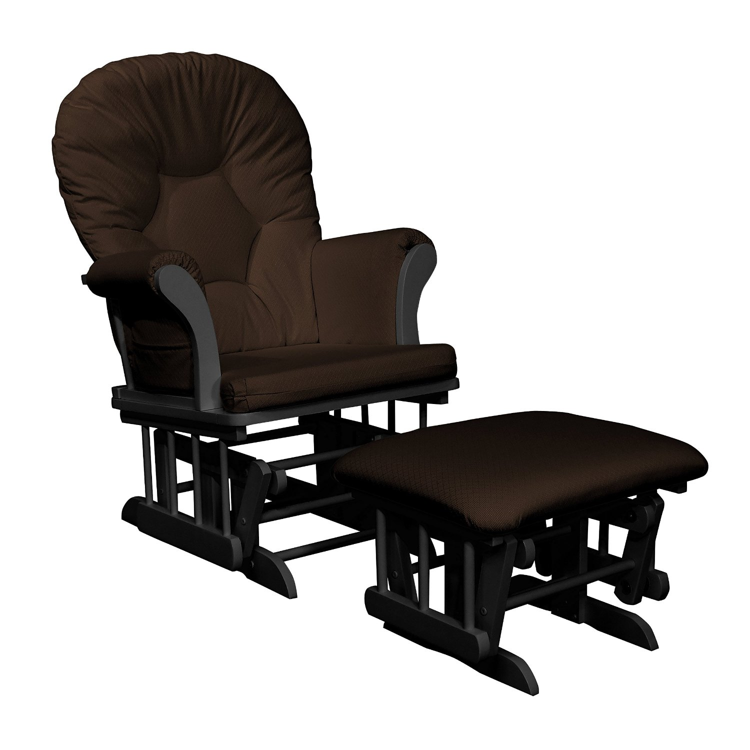 Shermag Dayton Sleigh Glider Rocker and Ottoman, Chocolate