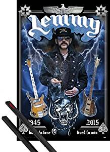 Poster + Hanger: Lemmy Kilmister Poster (36x24 inches) Born To Lose And 1 Set Of Black 1art1 Poster Hangers