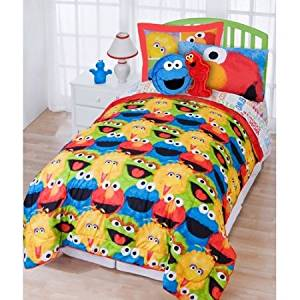 3 Piece Kids Sesame Street Comforter Full Set, Big Bird Elmo Cookie Monster Oscar the Grouch All Over Themed, Cute Adorable Childrens Bedding, Yellow Red Blue Green, Vibrant Colors
