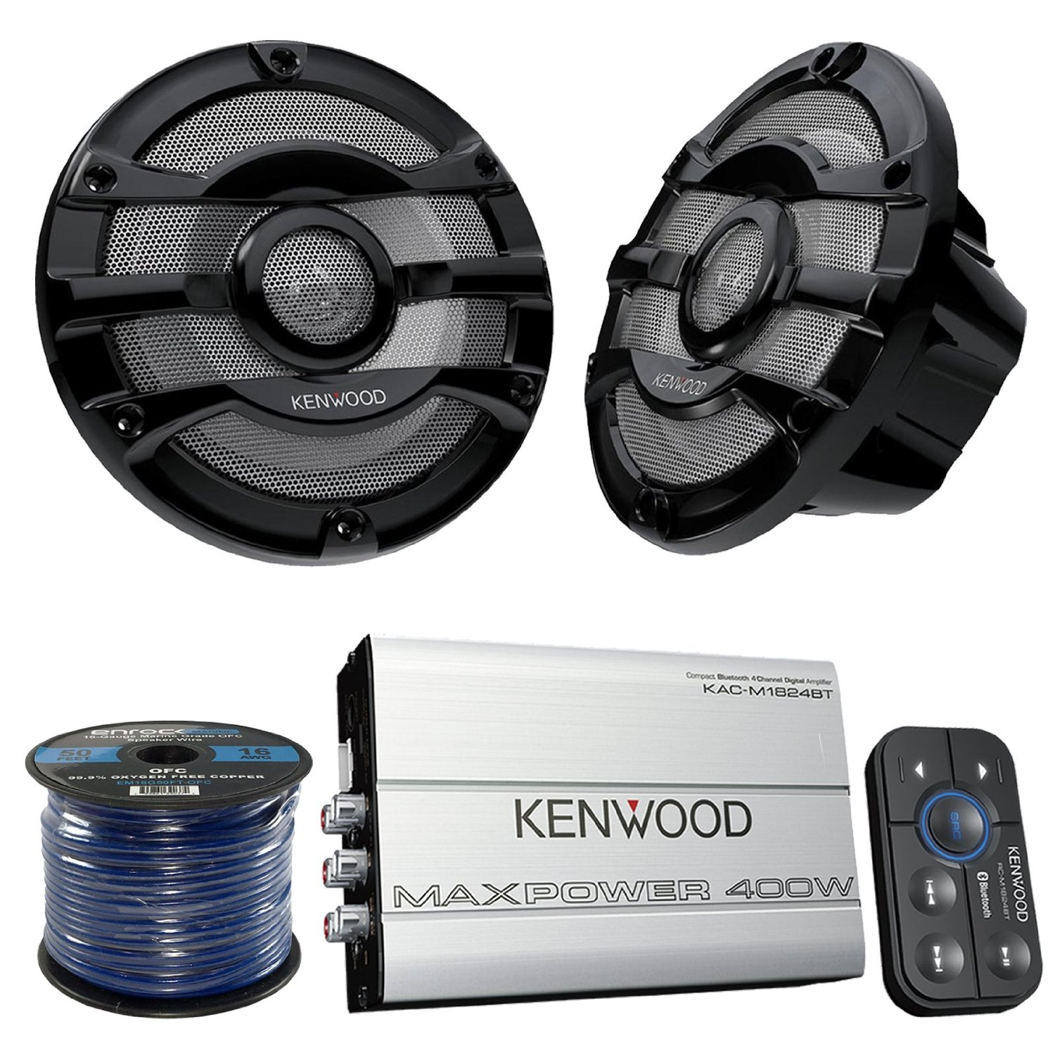"Marine Speaker And Amp Combo Of 4x Kenwood KFC2053MRB 8"" 2-Way 300w Car Marine Boat Yacht Outdoor Black Speaker Bundle With 400-Watt 4-Ch. Waterproof Bluetooth Amplifier + Enrock 50Ft 16g Speaker Wire"