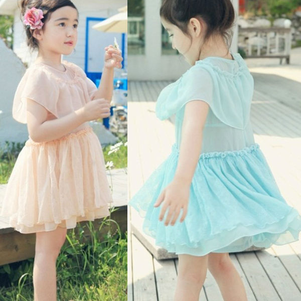LATEST SUMMER CHIFFON LACE FAIRY PRINCESS PLEATED DRESS DESIGN FOR ELEGANT GIRLS TA1093