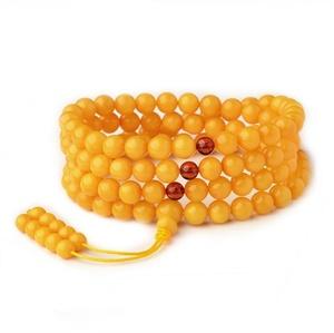 Wholesale Diy New Design Yellow Amber Natural Gemstone Bead Chain Necklace Jewellery Prayer Bead Bracelet