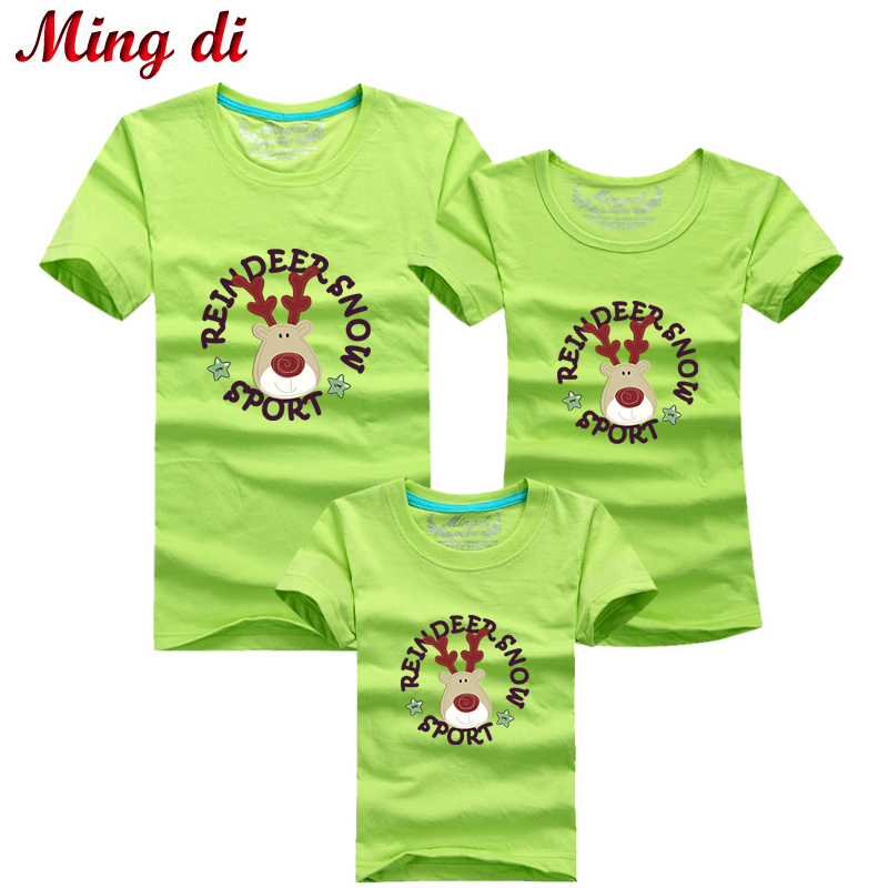 Ming Di Family Look Christmas Deer T Shirts Summer Family Matching Clothes Mom Dad Son Daughter