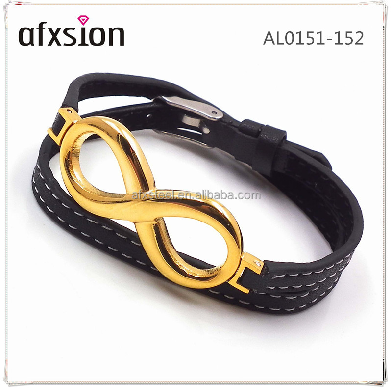 "AFXSION Jewelry Gold Plating Infinity ""8"" Stainless Steel Charm Leather Bracelet Women annd Men Fashion Bangle"