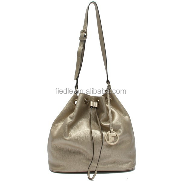 CSS1137-002 Hot Sale women bucket bag elegant metallic pebble grain shoulder bag ladies leather bag