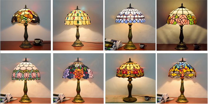 Tiffany Lampen Outlet : Power outlet american tiffany style table lamp antique glass lamp