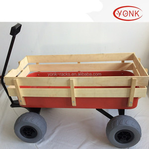 Enclosed Structure and Tools Usage Wooden wagon with 12inch 30cm big balloon wheel beach wheels