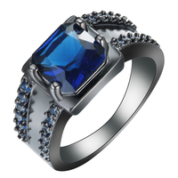 2016 Fashion luxury jewelry classical design blue square crystal white zircon black gold ring