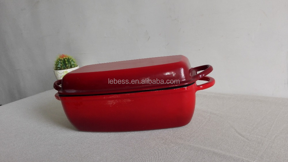 Top Quality Cast Iron Enamel Rectangular Double Use Casserole Baking Cookware
