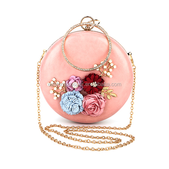 Hot sale fashion floral decoration oval pink clutch bag for ladies