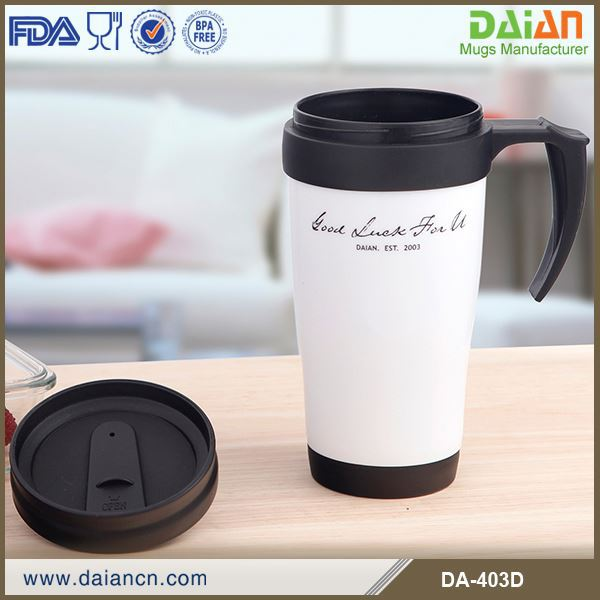 Double wall plastic thermal drinking mug, plastic cups plasitc mug plastic water drink cups