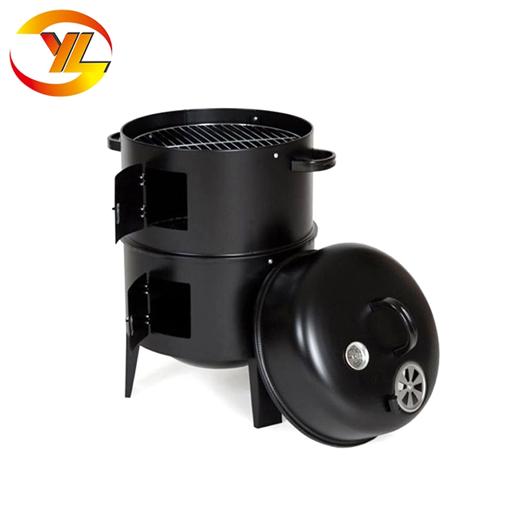 Round Can Shape Smoker Steam Garden Charcoal Barbeque Grill Set