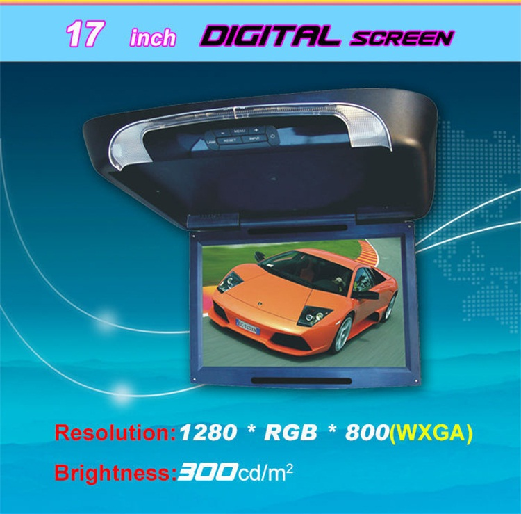 "9'' 15"" 17"" 19"" inch Roof Mounted Screen Display with Remote Control, Rotatable Screen"