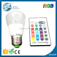 CE& ROHS red blue yellow RGB led light 3w bulb remote control