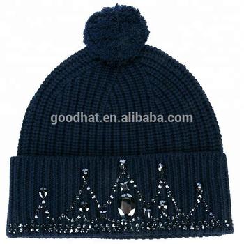 5486109aa Navy Blue Merino Wool Embellished Tiara Winter Beanie Hat - Buy Winter  Beanie Hat Product on Alibaba.com