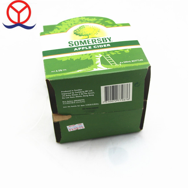 Unfinished Custom Design Brown Strong Corrugated Carton Box Wine Bottle Six Pack Beer Packaging