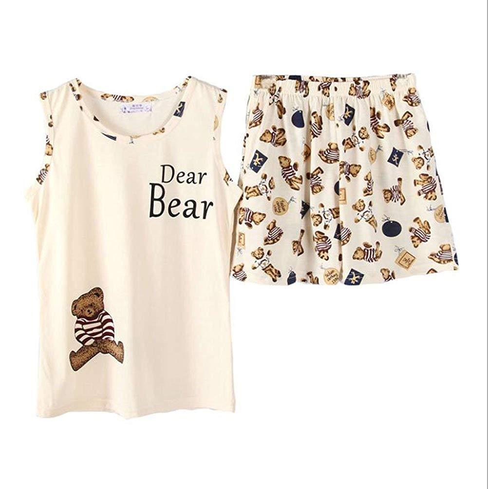 5c98e34545 Get Quotations · Big Girls Teen Girls Teddy Bear Sleeveless Sleepwear Summer  Cotton Shorts Pajamas Set