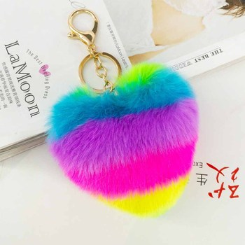 Yongze rainbow heart shape pompom heart shape keychain 10 cm keychain fur pom poms for bag faux fur heart ball key chains