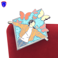 Fashion Custom Made Metal Hard Enamel Name Badge Metal Jungkook BTS Pins plastic pin with beautiful butterfly design