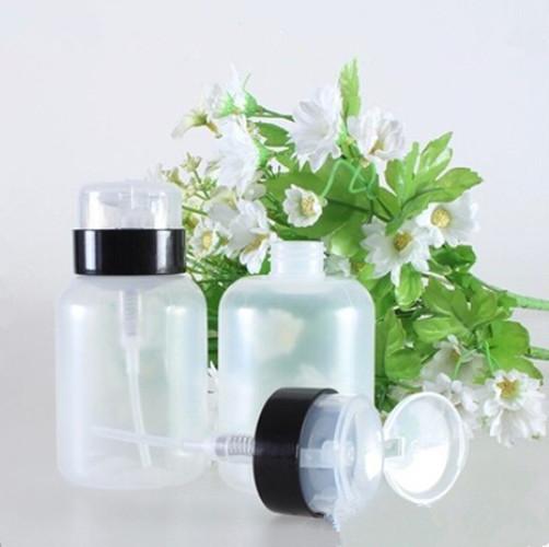 NEW 2016 Nail Art Pump Dispenser Polish Remover Cleaner Empty Bottle Makeup Plastic 220ml