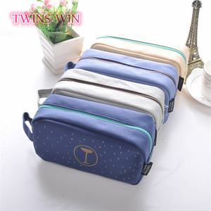 Greece 2018 hot selling school stationery products promotion zipper colorful canvas pencil cases bag cute for gifts