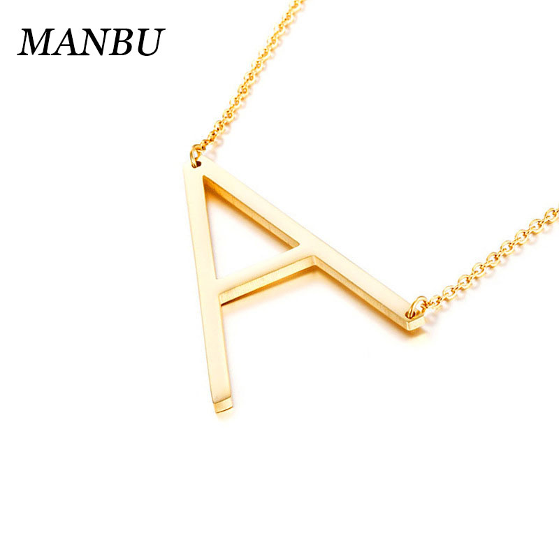 initial necklace letter pendant stainless steel gold alphabet <strong>charm</strong> gold 12869