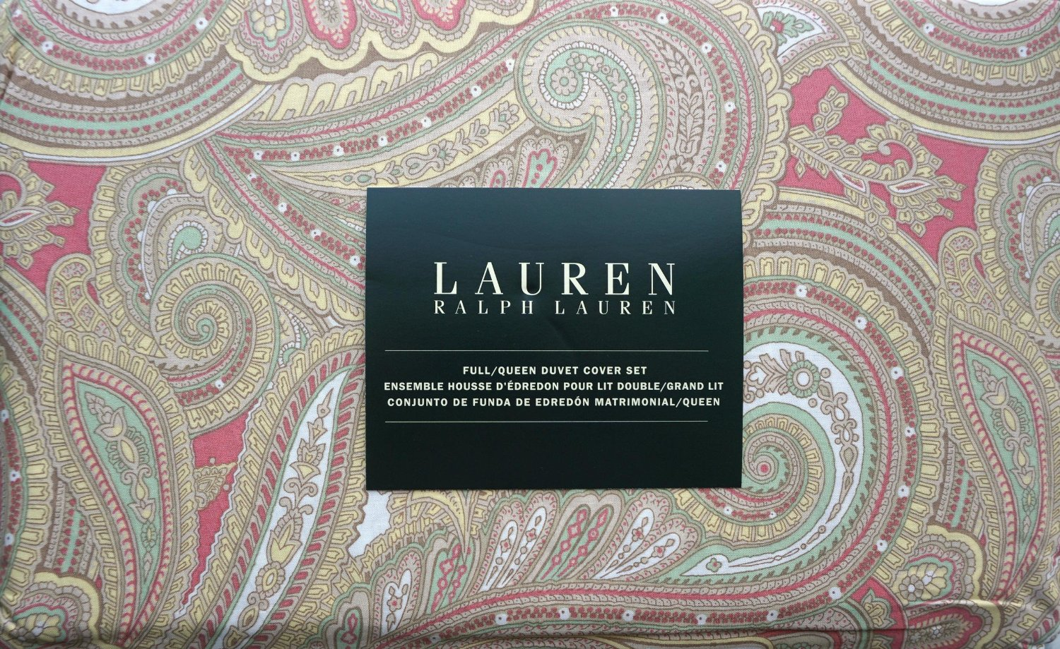 Lauren Ralph Lauren Bedding 3 Piece Full / Queen Size Duvet Cover Set Yellow Green Coral White Paisley Pattern