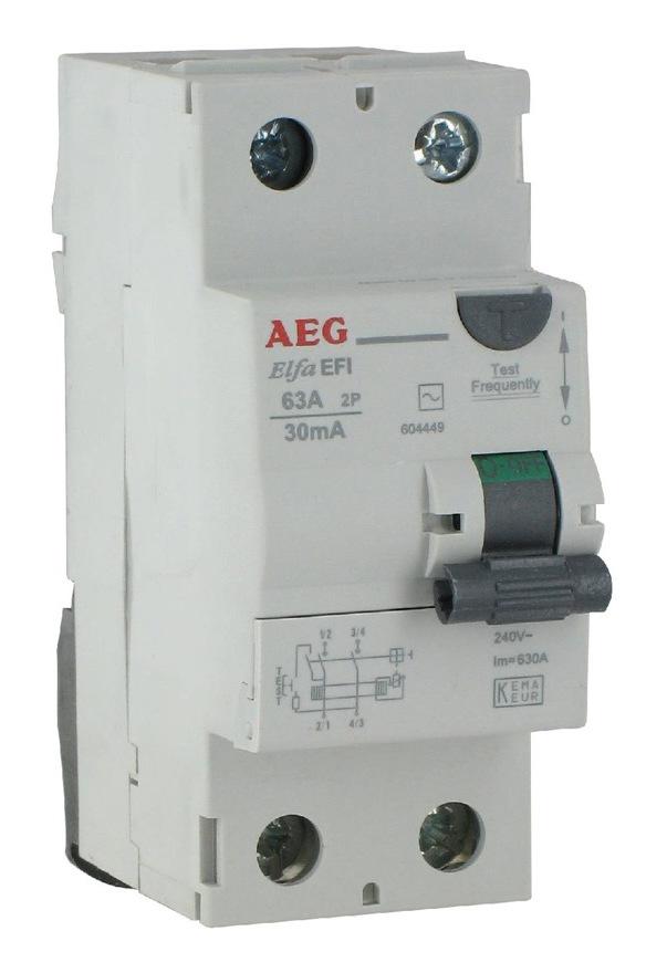 elfa efi dfi rccb interrupteur differentiel type ac 16a 25a 40a 63a 10ma  30ma equivalent aeg residual current circuit breaker