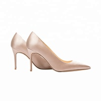 Fancy Ivory Silk Satin Wedding Shoes for Ladies Simple Dress Pumps Comfort 8cm High Heel Fashion Shoes