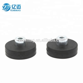 Strong Powerful D22mm Rubber Magnet Base for Car, Neodymium Pot Magnets with Rubber Coated