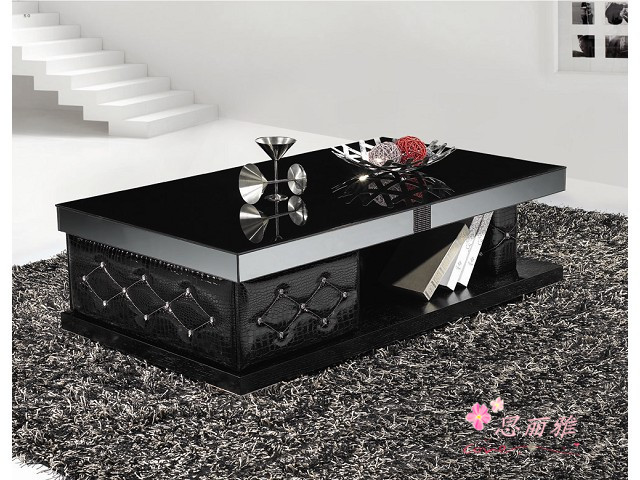 EXW Price Wooden Glass Black Coffee Table Y 527/glass Tea