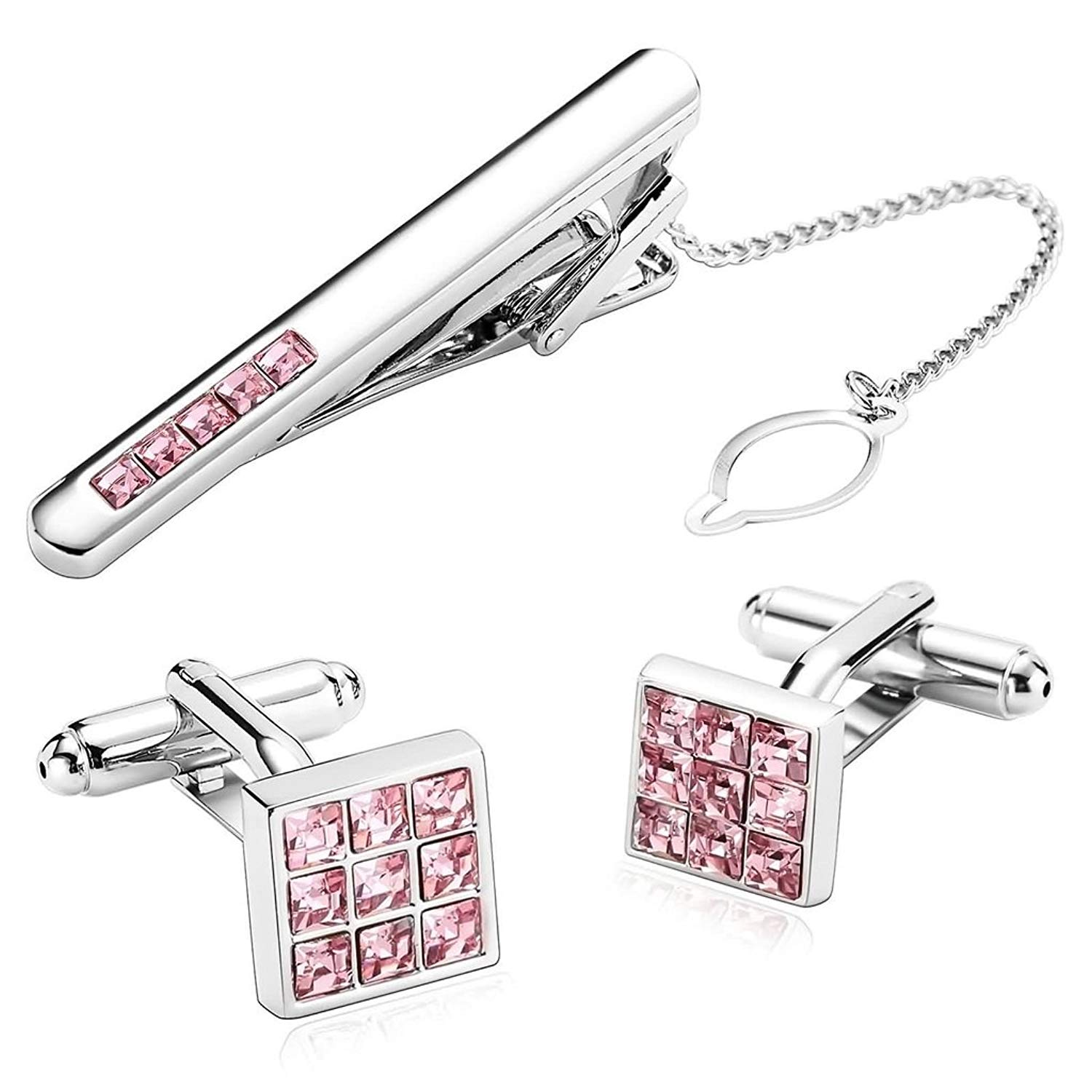 3Pcs Stainless Steel Square CZ Crystal Purple Aooaz Mens Tie Clip and Cufflink Set Clasp Bar Pin Shirt