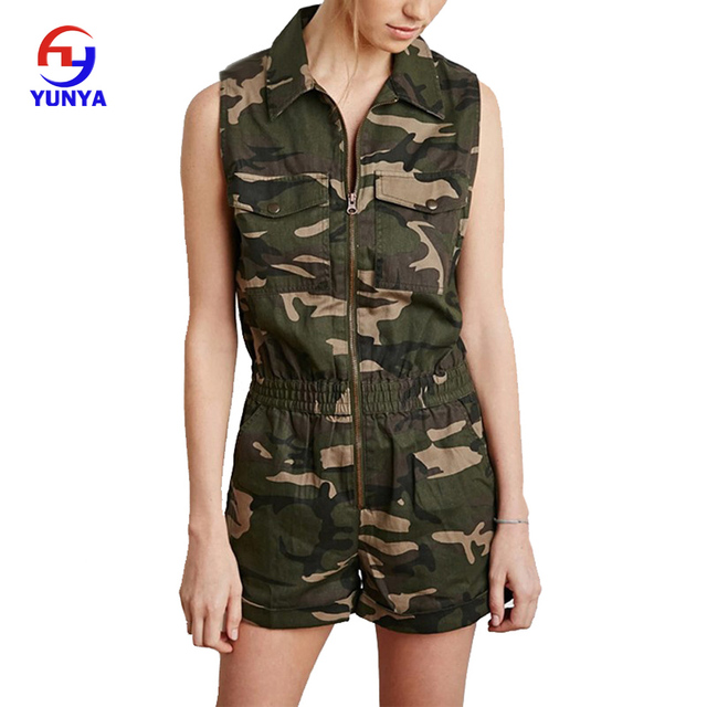 Summer Sleeveless Zipper Up Camouflage Women Rompers Jumpsuits