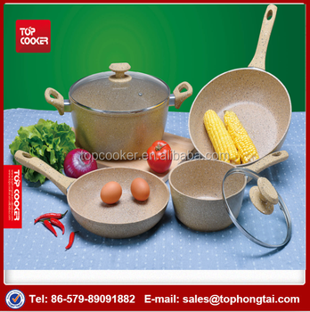 Forged Aluminum Beige Colored Marble Coated Cookware Set