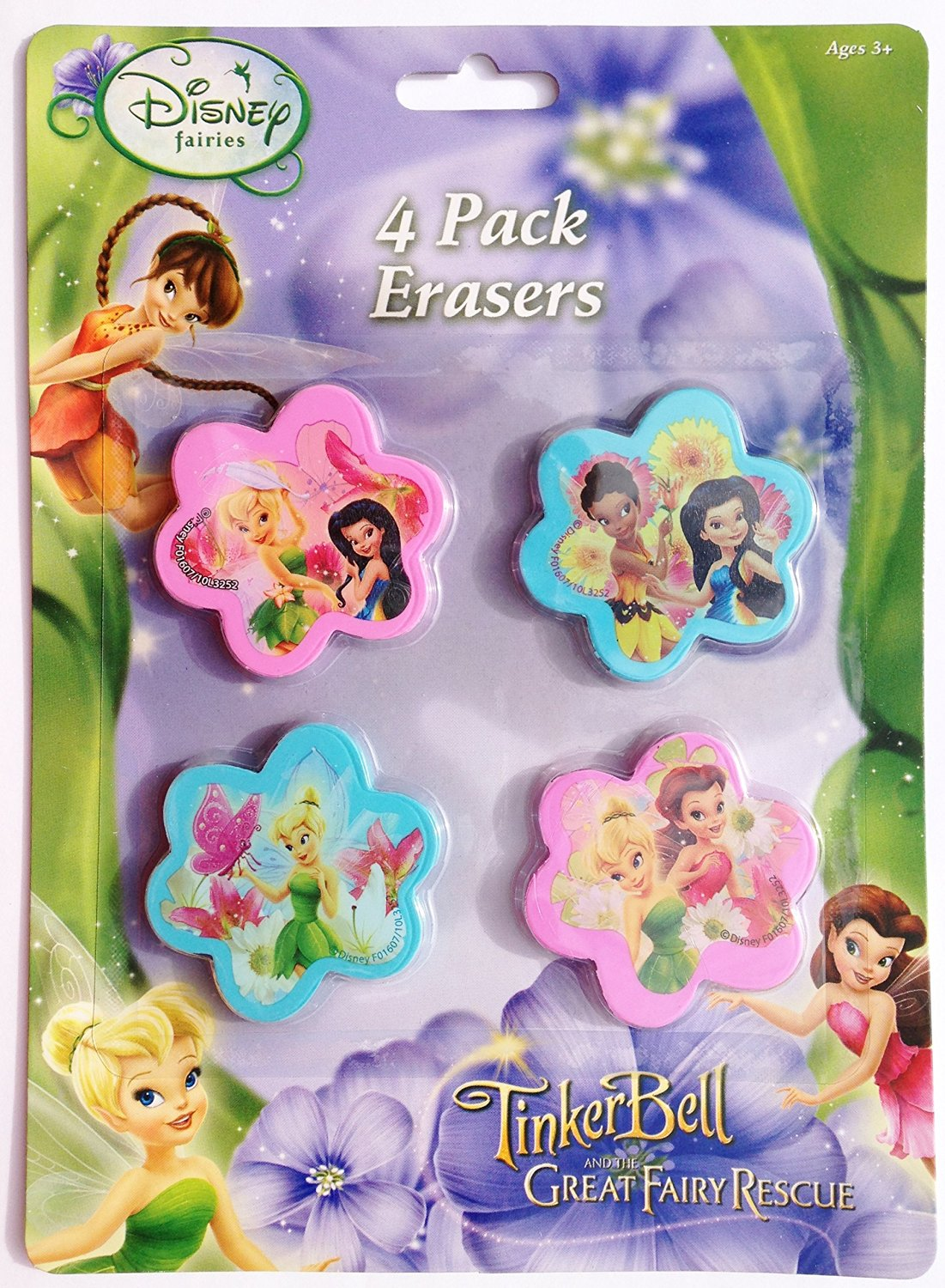 "Disney Fairies Tinkerbell & the Great Family Rescue 2"" Wide Erasers (Pack of 4)"