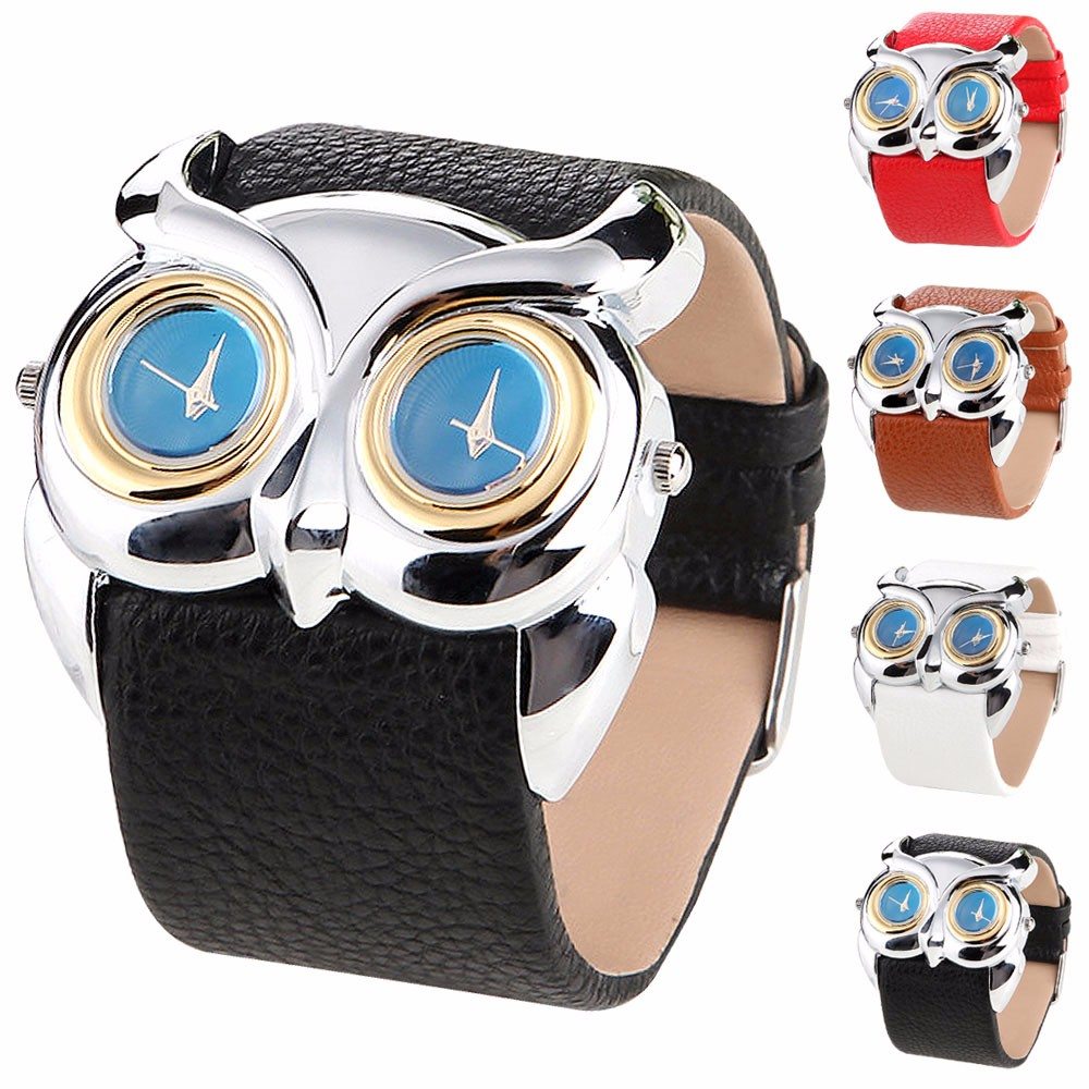 Feida Relogio Leather Owl Double Dual Dial 30M Waterproof Sport quartz Watch relojes mujer 2015 watches Women Men Kids